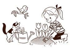 排行从事园艺在春天的一个小女孩的动画片图画 库存照片