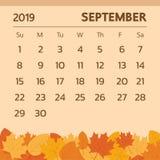 五颜六色的2019日历 也corel凹道例证向量 从星期天的图片