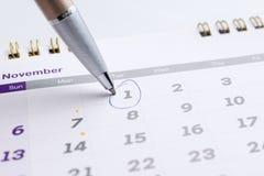 排进日程与选择的31的页2016年11月与a的标号 库存照片