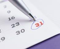 排进日程与选择的31的页2016年12月与b的标号 库存照片