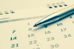 排进日程与选择的8的页2016年12月与ba的标号 免版税库存图片