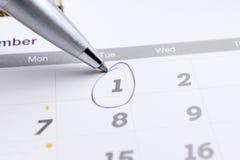 排进日程与选择的1的页2016年12月与ba的标号 图库摄影