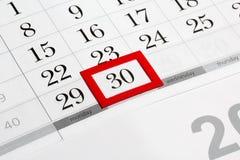 排进日程页与月选择的最后日期  免版税库存照片