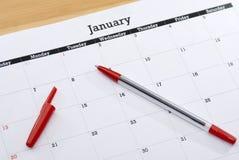 排进日程页1月 免版税库存照片