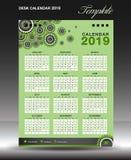 排进日程2019年模板,垂直的艺术品,挂历,星期开始星期天,企业飞行物,绿色背景 皇族释放例证
