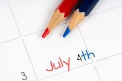 排进日程7月四日 图库摄影