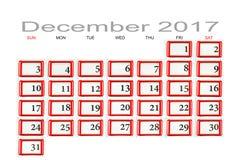 排进日程2017年12月 免版税库存图片