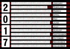 排进日程2017年,在水平的小条的calendarium,蓝色抽象背景 免版税库存照片