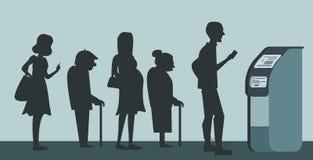 排队在银行广告的ATM背景 不悦的人民为背景站在队中 前辈和前