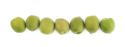 排队的多颗绿橄榄 图库摄影