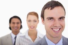 排队的微笑的businesspartner 免版税图库摄影