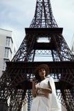 掠夺摆在反对假艾菲尔铁塔的头发的印地安夫人 库存照片