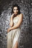 掠夺摆在演播室的头发的印地安夫人反对光滑的箔背景 库存图片