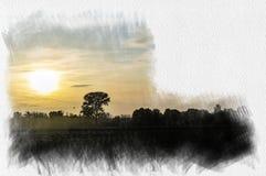 掠过一棵孤零零树的水彩例证在乡下在冬天在日落 免版税库存图片
