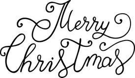 掠过圣诞快乐书法字法隔绝了在白色背景 免版税库存照片