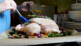 掠过整个未加工的鸡用在烧烤平底锅的烧烤调味汁的女性手用桔子蔓越桔和草本在烤箱 免版税库存图片