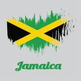 掠过样式牙买加旗子, A金颜色旗子对角十字架分界领域入绿色四个三角和黑色 向量例证