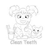 掠过的儿童清洗牙齿她的卫生学牙 向量例证