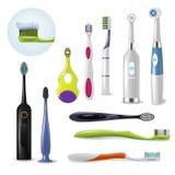 掠过的teethwith牙膏例证牙科套的Toothbrushe传染媒介牙齿卫生学牙刷现实 向量例证