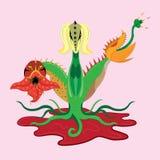 掠食性植物与三个头的一条龙 库存照片