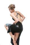 探戈礼服的女孩舞蹈家 免版税库存照片