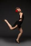 探戈礼服的女孩舞蹈家 免版税库存图片
