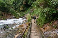 探索国家公园的背包徒步旅行者游人在越南 免版税库存图片