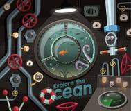 探索海洋,在海下的看法从潜水艇 库存照片