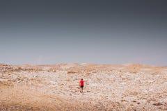 探索-走在岩石沙漠自由和冒险生活方式和体育概念的孤独的男孩 库存照片