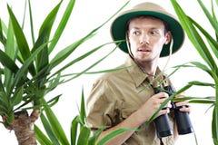 探险家佩带的遮阳帽 免版税库存照片