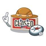 探险家关闭了标志附有动画片门 库存例证