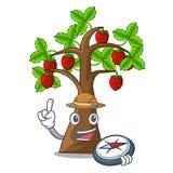 探险家动画片草莓树在土壤增长 皇族释放例证
