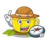 探险家在动画片形状的姜黄茶 向量例证