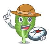 探险家在动画片形状的绿色芥末 向量例证
