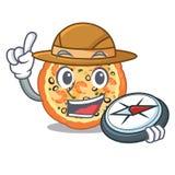 探险家在吉祥人形状的海鲜比萨 向量例证