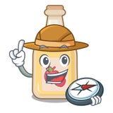 探险家在字符形状的苹果汁 库存例证
