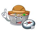 探险家在桌字符的酱汤碗 向量例证