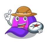 探险家在滑稽的形状的盖帽字符 向量例证