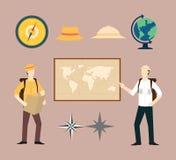 探险家或冒险地理集合汇集 皇族释放例证