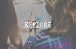 探险家旅途探索休闲概念 免版税库存图片