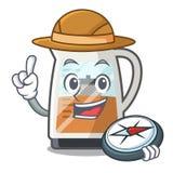 探险家茶制造商在动画片瓶服务 库存例证