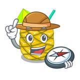 探险家菠萝在字符饮料的果汁 库存例证