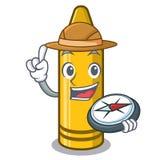 探险家黄色蜡笔在动画片钱包里 向量例证