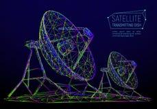 探险空间的五颜六色的抽象多角形卫星盘 库存图片