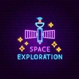 探险空间霓虹标签 皇族释放例证
