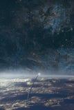 探险空间地球和夜空背景 库存照片