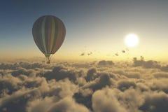 探索与热空气气球 免版税库存照片