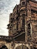 探索印度堡垒乔德普尔城的探索的拉贾斯坦 蓝色城市 meharangadh堡垒 库存照片