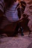 探索的槽孔峡谷 库存照片
