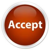 接受优质棕色圆的按钮 免版税图库摄影
